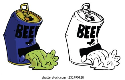 Cartoon beer can throwing up - Vector clip art illustration on white background