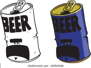 Cartoon beer can - Vector clip art illustration on white background