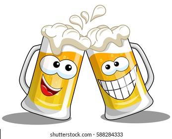 Cartoon beer mug making cheers isolated on white