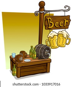 Cartoon beer vendor booth or shop market wooden stand. Wooden sign with text Beer. Vector icon for game.