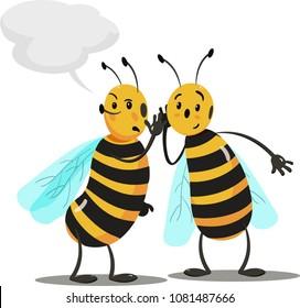 Cartoon bees discuss rumors