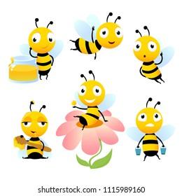Cartoon bees. Funny illustrations of characters isolate. Vector bee cartoon, wildlife honeybee
