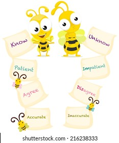 cartoon bees with opposite words