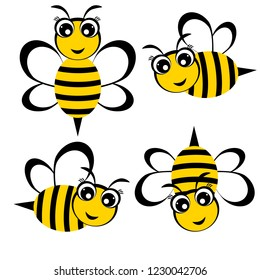 Cartoon bees. set of four cute honey bee. Vector illustration.