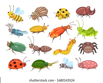 Cartoon beetle. Funny smiling bugs, children beetles. Happy insects, ladybug and caterpillar, larva. Wild forest world vector illustration