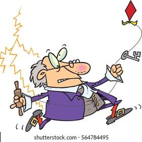 cartoon Benjamin Franklin with kite