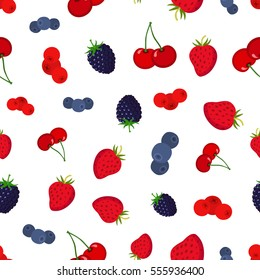 Cartoon berries pattern. Strawberry, blueberry, cranberry, cherry, blackberry. Flat vector style.