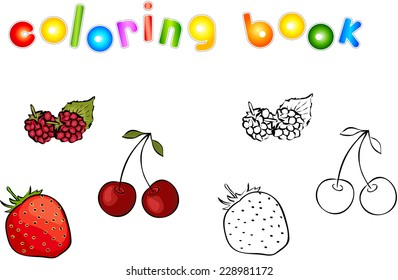 Cartoon berries (strawberries, raspberries and cherry) coloring book. Vector illustration for children