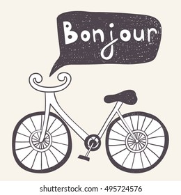 "Cartoon bicycle with ""Good day"" french text."