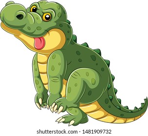 Cartoon a big alligator with tongue hanging out