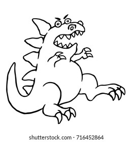 Cartoon big angry dinosaur. Vector illustration. Funny cute monster character.