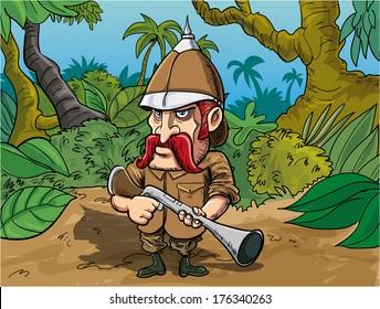 Cartoon big game hunter