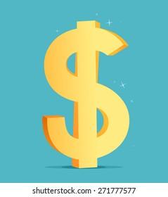 Cartoon big golden dollar sign. Vector illustration