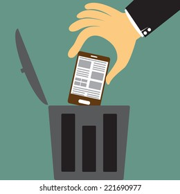 cartoon big hand throw the smartphone in the trash, Scrapping old device concept vector illustration.
