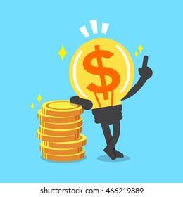 Cartoon big money idea character with money coins