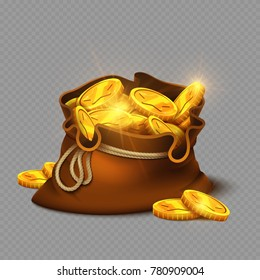 Cartoon big old bag with gold coins isolated on transparent background. Gold money earning, treasure prize. Vector illustration