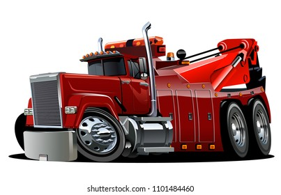 Cartoon big rig tow truck isolated on white background. Available EPS-10 vector format separated by groups and layers for easy edit
