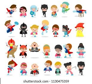 Cartoon big set of Kid Superheroes wearing comics costumes,Kids With Superhero Costumes set, kids in Superhero costume characters isolated on white background, Cute little Superhero Children's