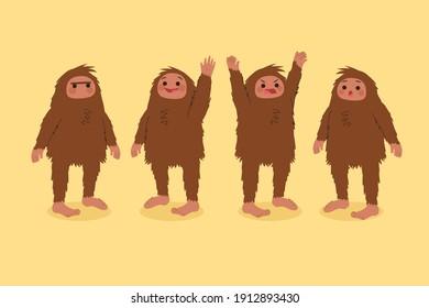 Cartoon bigfoot sasquatch character collection Vector illustration.