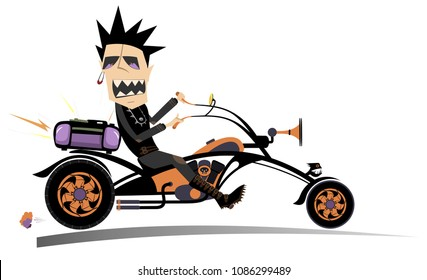 Cartoon biker man isolated. Comic man riding a bike with stereo system and singing a song isolated on white illustration