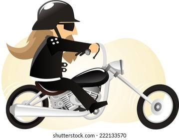 Cartoon Biker riding motorcycle.