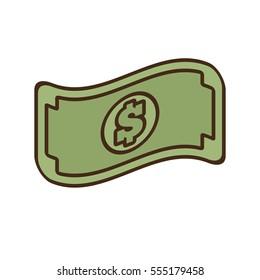 cartoon bill money dollar cash icon vector illustration eps 10
