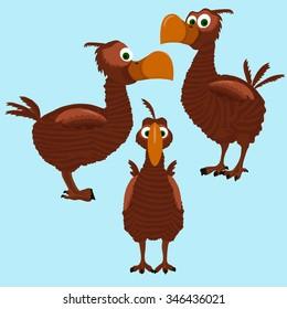 Cartoon bird dodo in three sides.