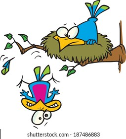 cartoon bird falling out of the nest