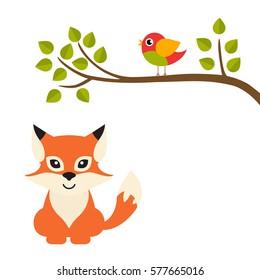 cartoon bird on a branch and fox