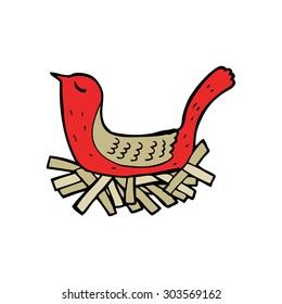 cartoon bird on nest