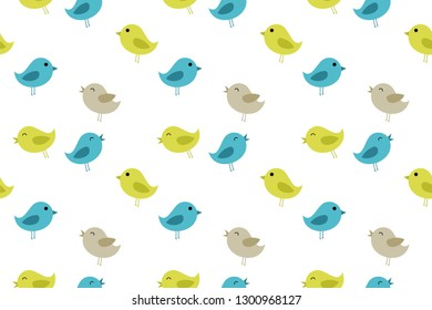 cartoon bird pattern collection, trendy vector illustration in flat style for wrapping paper, textile printing, wallpaper