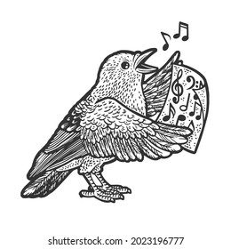 cartoon bird singing song by sheet music notes sketch engraving vector illustration. T-shirt apparel print design. Scratch board imitation. Black and white hand drawn image.