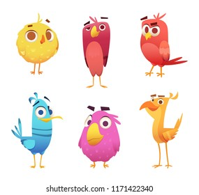Cartoon birds. Chicken eagles canary animal faces and feathers vector game characters of colored birds. Illustration of color bird animal