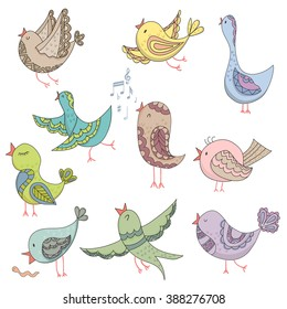 Cartoon birds Singing Summer Endless Vector Illustration.Endless background. Beautiful pattern in. Vector backdrop.Summer template.Use for wallpaper,pattern fills, web page background.print on t-shirt