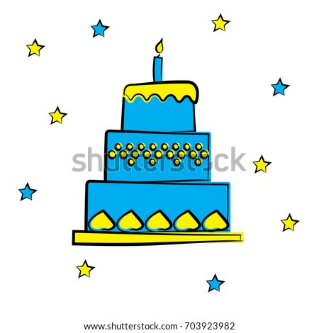 Cartoon Birthday Cake With Candle Blue And Yellow Dessert Star Vector Illustration