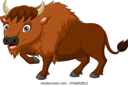 Cartoon bison isolated on white background