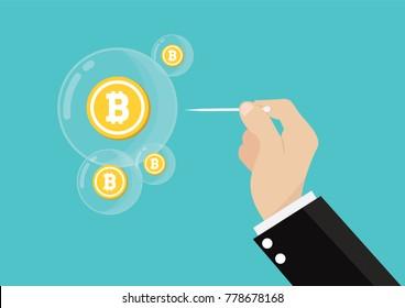 Cartoon, Bitcoin bubble burst concept., vector eps10
