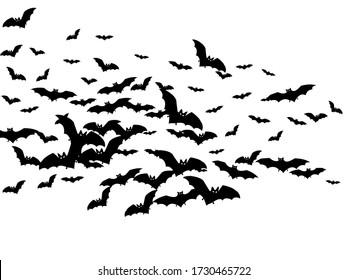 Cartoon black bats group isolated on white vector Halloween background. Flittermouse night creatures illustration. Silhouettes of flying bats vampire Halloween symbols on white.