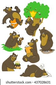 Cartoon black bear friendly funny different activities running reading climbing sleeping vector illustration set