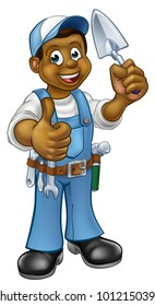 A cartoon black builder or bricklayer construction worker holding a masons brick laying trowel hand tool and giving a thumbs up
