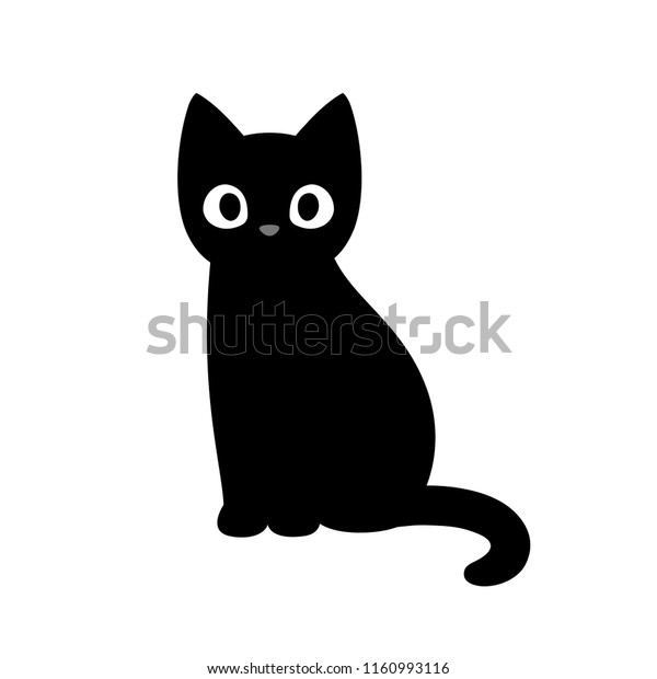 Cartoon Black Cat Drawing Simple Cute Stock Vector Royalty Free 1160993116