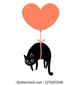Cartoon black cat floating tied to a heart shaped balloon. Valentine's Day greeting card.