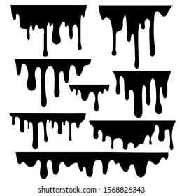 Cartoon Black Drips Paint Drops Set Liquid Texture Element for Design. Vector illustration of Fluid Ink