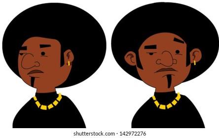 Cartoon black man with attitude - Vector clip art illustration on white background