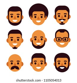 Cartoon black man avatar icon set. Cute and simple male portraits with different haircuts and facial hair. Flat design vector illustration.