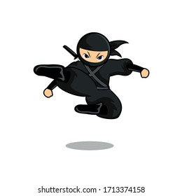 cartoon black ninja mascot jump and kick enemy