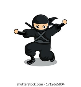 cartoon black ninja start to jump