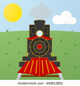 Cartoon black and red steam vintage locomotive train on field