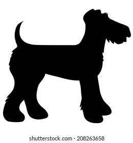A cartoon black silhouette of an Airedale Terrier