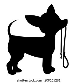 A cartoon black silhouette of a Chihuahua with a leash in its mouth